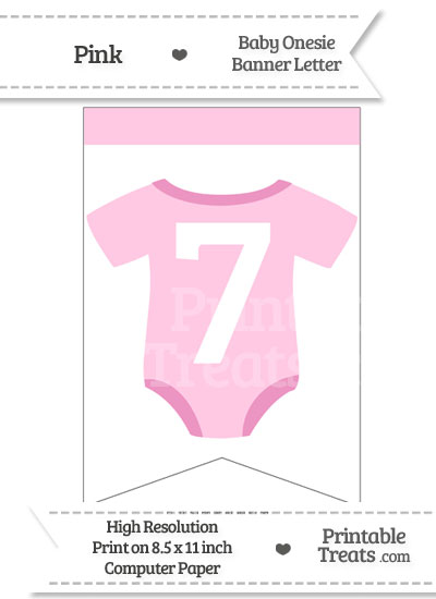 Pink Baby Onesie Bunting Banner Number 7 from PrintableTreats.com