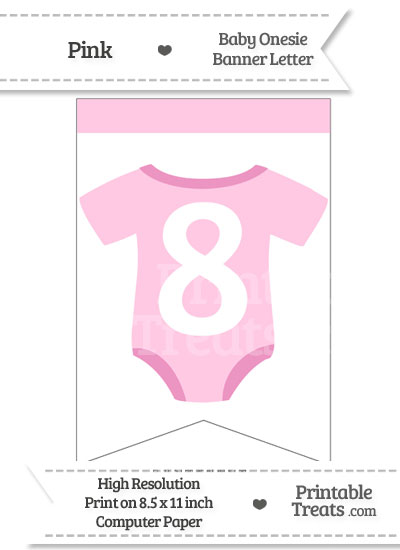 Pink Baby Onesie Bunting Banner Number 8 from PrintableTreats.com