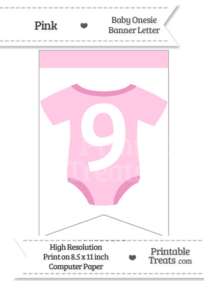 Pink Baby Onesie Bunting Banner Number 9 from PrintableTreats.com
