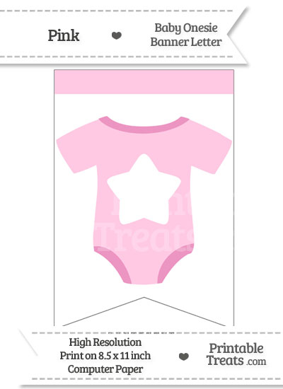 Pink Baby Onesie Bunting Banner Star End from PrintableTreats.com