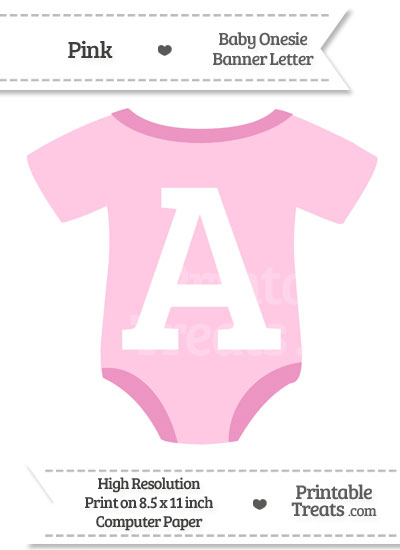 Pink Baby Onesie Shaped Banner Letter A from PrintableTreats.com