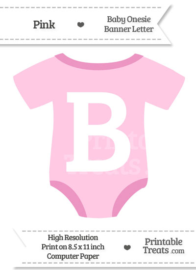 Pink Baby Onesie Shaped Banner Letter B from PrintableTreats.com