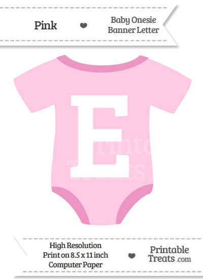Pink Baby Onesie Shaped Banner Letter E from PrintableTreats.com