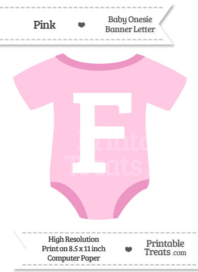 Pink Baby Onesie Shaped Banner Letter F from PrintableTreats.com