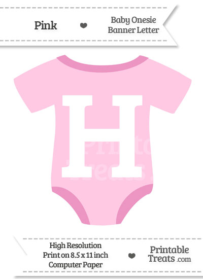 Pink Baby Onesie Shaped Banner Letter H from PrintableTreats.com