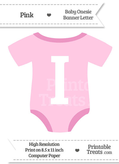 Pink Baby Onesie Shaped Banner Letter I from PrintableTreats.com