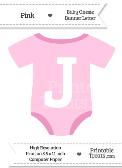 Pink Baby Onesie Shaped Banner Letter J from PrintableTreats.com