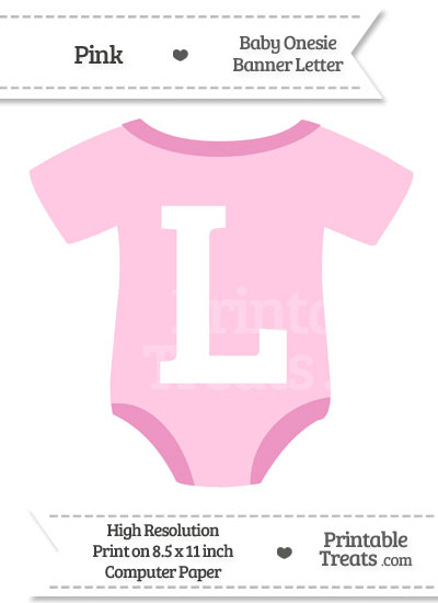 Pink Baby Onesie Shaped Banner Letter L from PrintableTreats.com