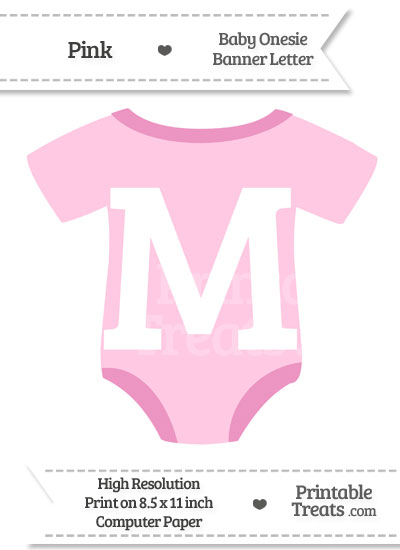 Pink Baby Onesie Shaped Banner Letter M from PrintableTreats.com