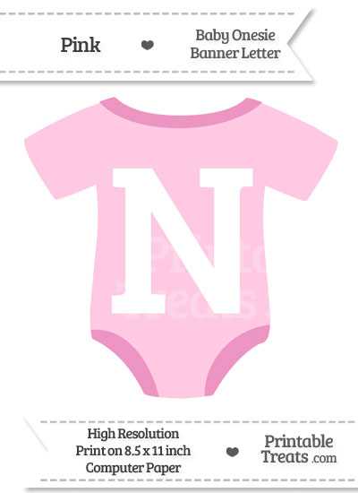 Pink Baby Onesie Shaped Banner Letter N from PrintableTreats.com