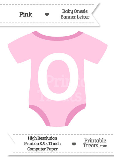 Pink Baby Onesie Shaped Banner Letter O from PrintableTreats.com
