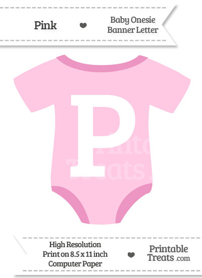 Pink Baby Onesie Shaped Banner Letter P from PrintableTreats.com