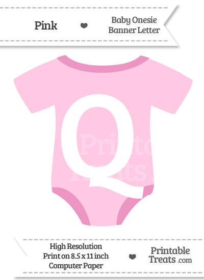 Pink Baby Onesie Shaped Banner Letter Q from PrintableTreats.com