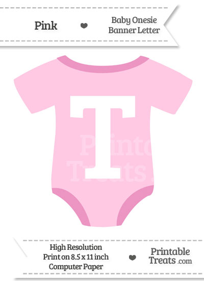 Pink Baby Onesie Shaped Banner Letter T from PrintableTreats.com