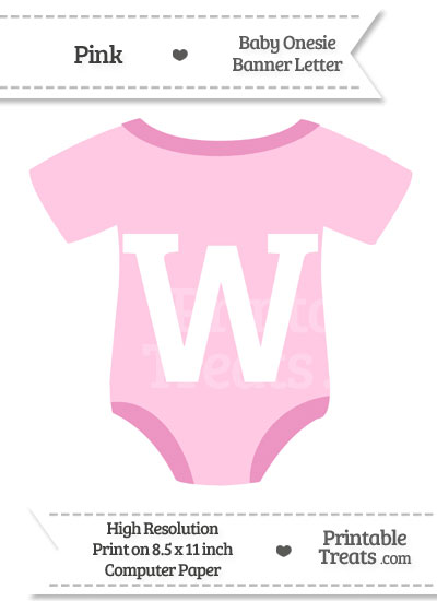 Pink Baby Onesie Shaped Banner Letter W from PrintableTreats.com