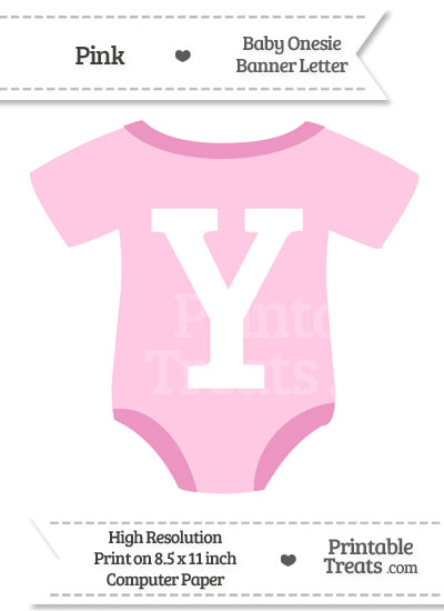 Pink Baby Onesie Shaped Banner Letter Y from PrintableTreats.com