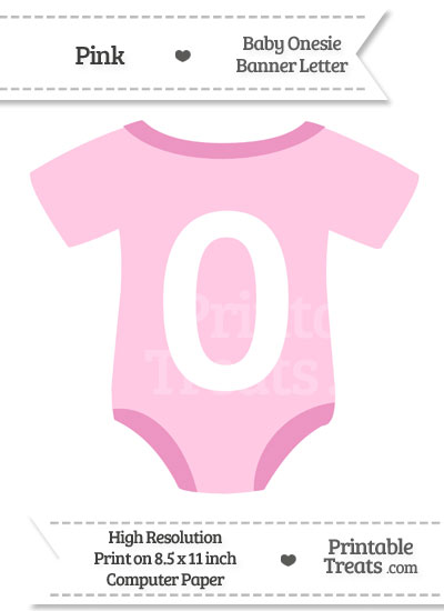 Pink Baby Onesie Shaped Banner Number 0 from PrintableTreats.com