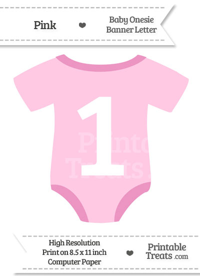 Pink Baby Onesie Shaped Banner Number 1 from PrintableTreats.com