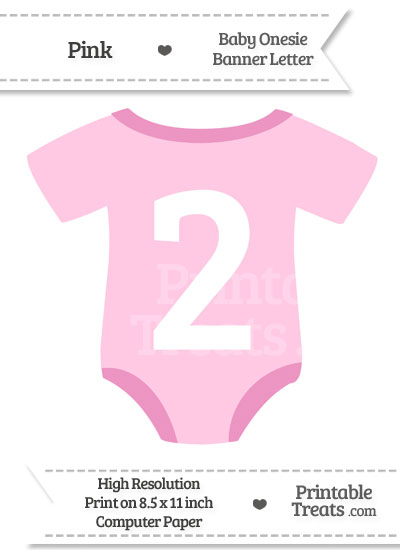 Pink Baby Onesie Shaped Banner Number 2 from PrintableTreats.com