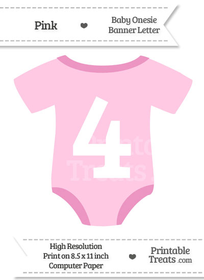Pink Baby Onesie Shaped Banner Number 4 from PrintableTreats.com