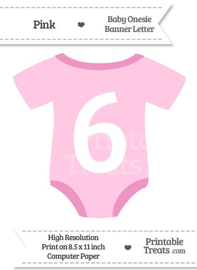Pink Baby Onesie Shaped Banner Number 6 from PrintableTreats.com