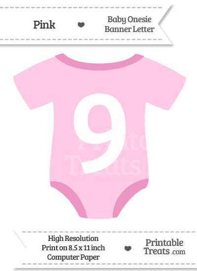 Pink Baby Onesie Shaped Banner Number 9 from PrintableTreats.com