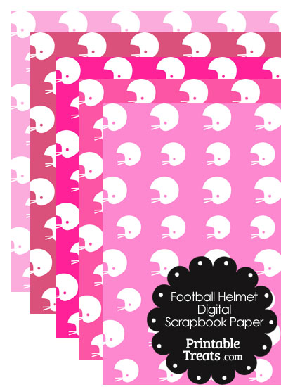 Pink Background Football Helmet Digital Scrapbook Paper from PrintableTreats.com