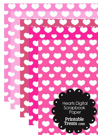 Pink Background Heart Digital Scrapbook Paper from PrintableTreats.com