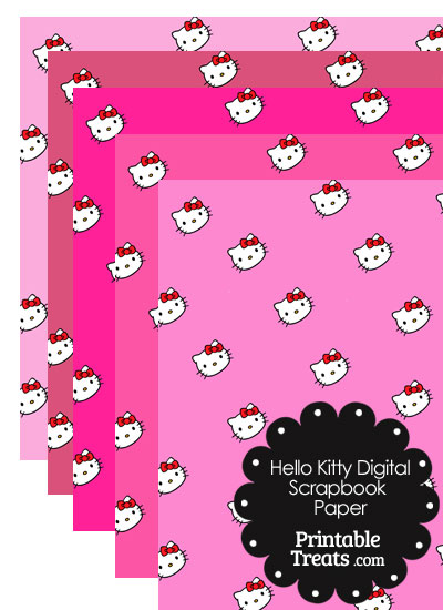 Pink Background Hello Kitty Digital Scrapbook Paper from PrintableTreats.com