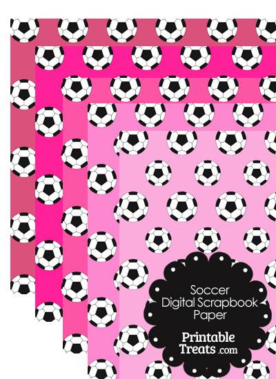 Pink Background Soccer Digital Scrapbook Paper from PrintableTreats.com