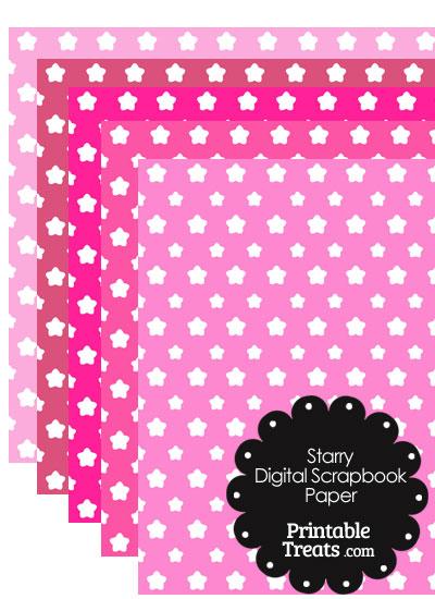 Pink Background Star Digital Scrapbook Paper from PrintableTreats.com