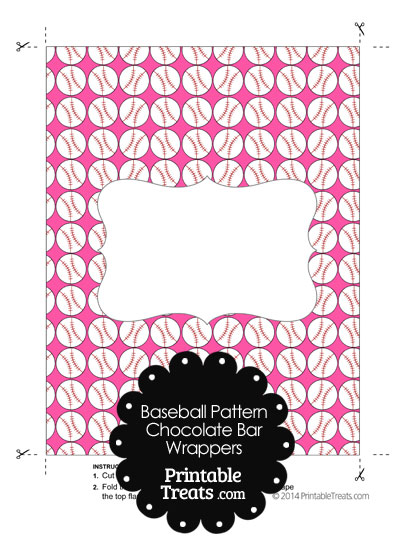 Pink Baseball Pattern Chocolate Bar Wrappers from PrintableTreats.com