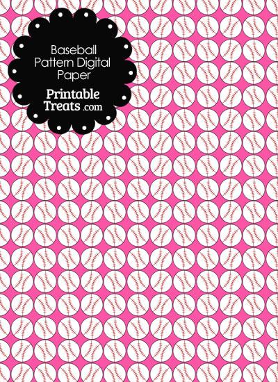 Pink Baseball Pattern Digital Scrapbook Paper from PrintableTreats.com