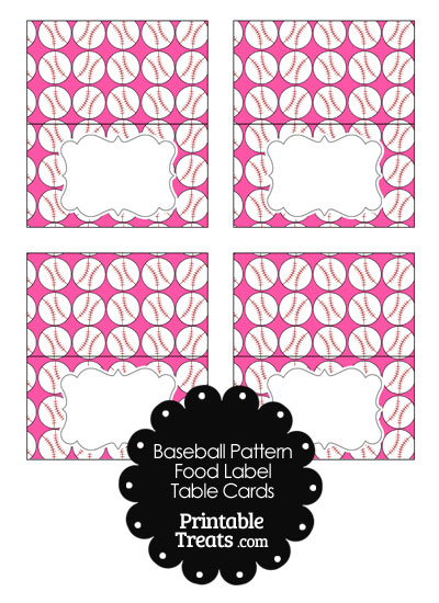 Pink Baseball Pattern Food Labels from PrintableTreats.com