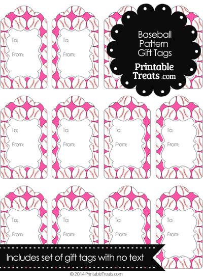Pink Baseball Pattern Gift Tags from PrintableTreats.com
