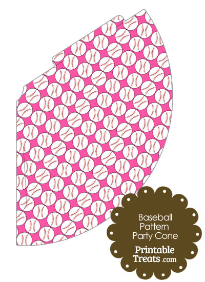 Pink Baseball Pattern Party Cone from PrintableTreats.com