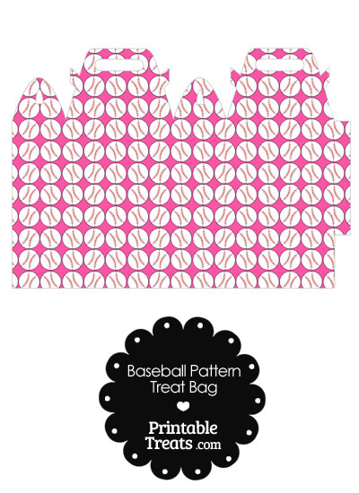 Pink Baseball Pattern Treat Bag from PrintableTreats.com