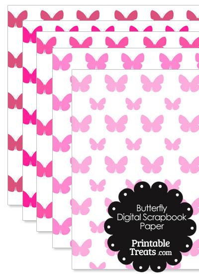 Pink Butterfly Digital Scrapbook Paper from PrintableTreats.com