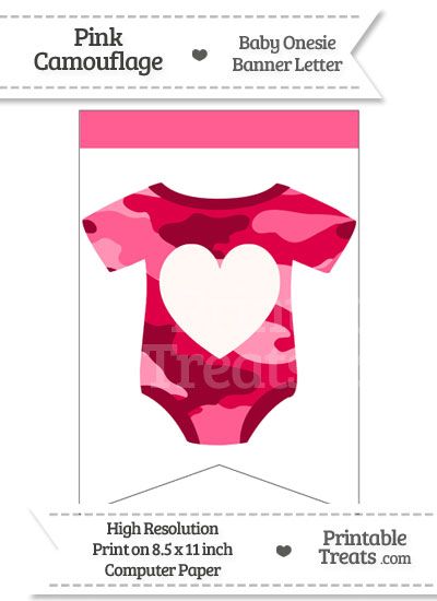 Pink Camo Baby Onesie Bunting Banner Heart End Flag from PrintableTreats.com