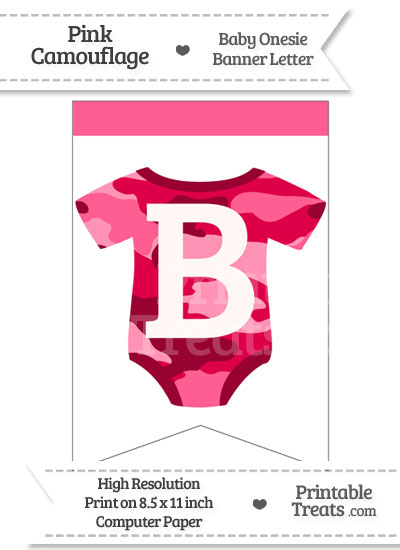 Pink Camo Baby Onesie Bunting Banner Letter B from PrintableTreats.com