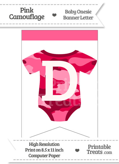 Pink Camo Baby Onesie Bunting Banner Letter D from PrintableTreats.com