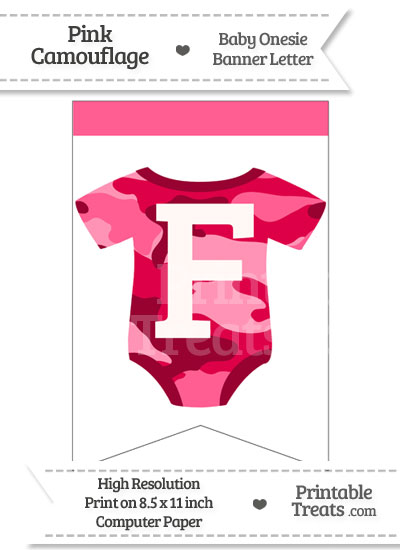 Pink Camo Baby Onesie Bunting Banner Letter F from PrintableTreats.com