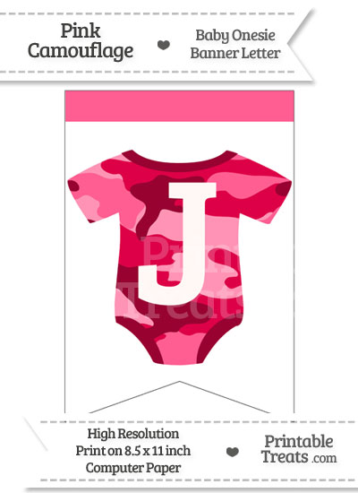 Pink Camo Baby Onesie Bunting Banner Letter J from PrintableTreats.com