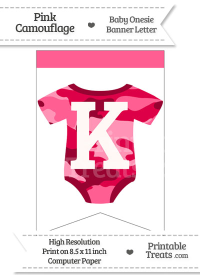 Pink Camo Baby Onesie Bunting Banner Letter K from PrintableTreats.com