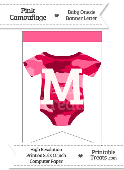 Pink Camo Baby Onesie Bunting Banner Letter M from PrintableTreats.com