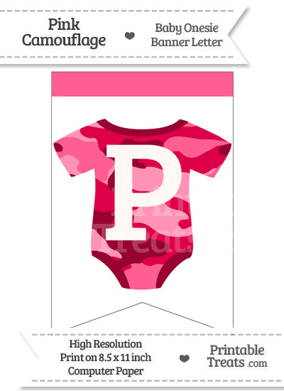 Pink Camo Baby Onesie Bunting Banner Letter P from PrintableTreats.com