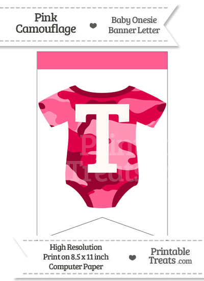 Pink Camo Baby Onesie Bunting Banner Letter T from PrintableTreats.com