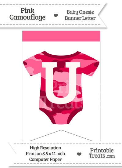 Pink Camo Baby Onesie Bunting Banner Letter U from PrintableTreats.com