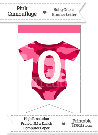 Pink Camo Baby Onesie Bunting Banner Number 0 from PrintableTreats.com