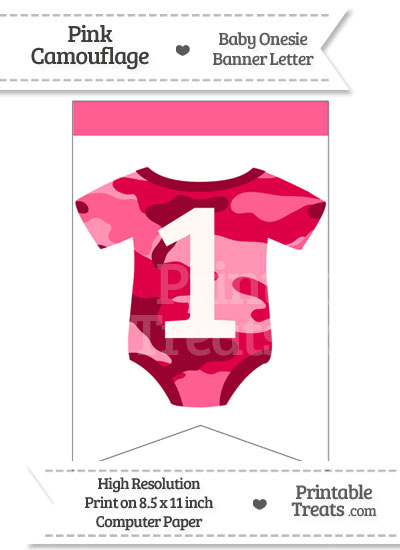Pink Camo Baby Onesie Bunting Banner Number 1 from PrintableTreats.com